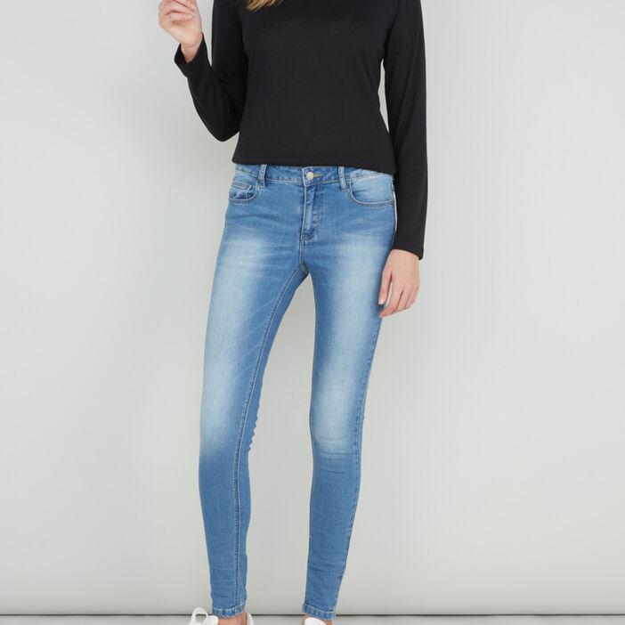 Jean skinny délavé taille basse femme denim double stone