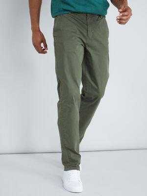 Pantalon straight coton extensible vert kaki homme