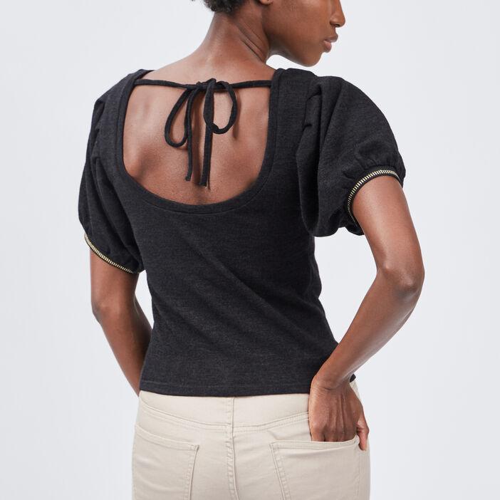 Pull manches courtes femme noir
