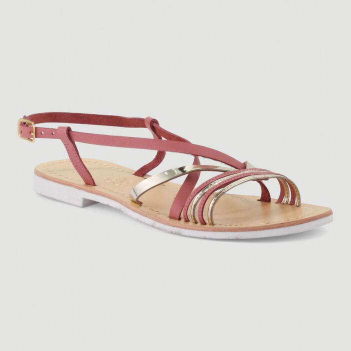 Sandales en cuir femme rose