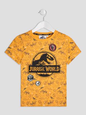 T shirt Jurassic Park jaune moutarde garcon