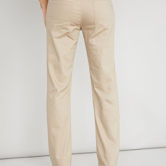 Pantalon uni coupe droite coton femme beige