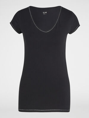 T shirt avec lisere contraste noir femme