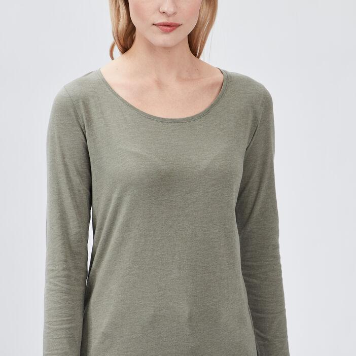 T-shirt manches longues femme vert kaki