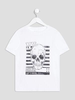 T shirt manches courtes blanc garcon