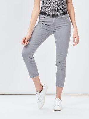 Jeans slim ceinture gris clair femme