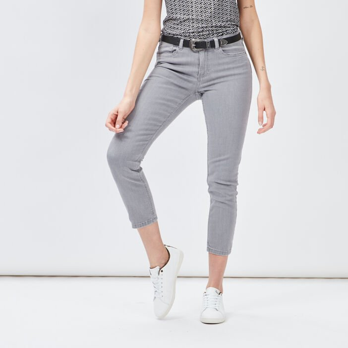 Jeans slim ceinturé femme gris clair
