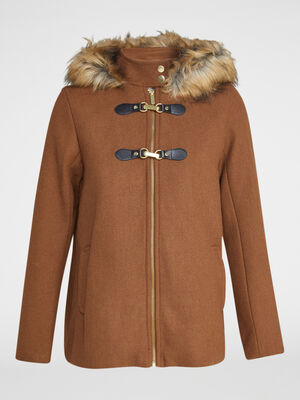 Manteau zippe evase avec capuche marron clair femme