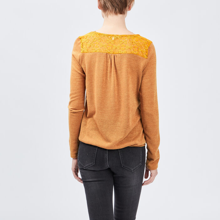 Pull manches longues femme jaune moutarde