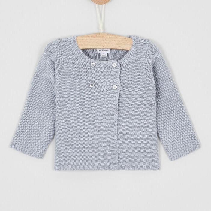 Gilet boutonné en coton uni bébé garçon gris