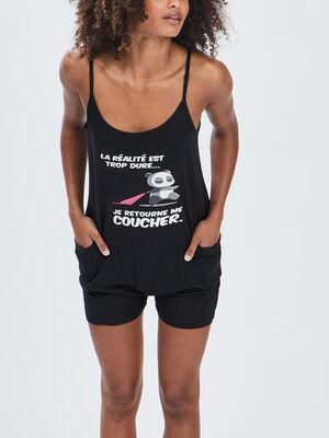 Combishort pyjama noir femme