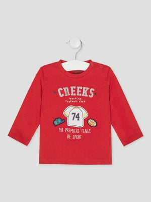 T shirt manches longues Creeks rouge bebeg