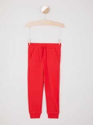 Jogging uni poches italiennes rouge garcon
