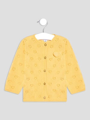Gilet boutonne ajoure jaune moutarde bebef