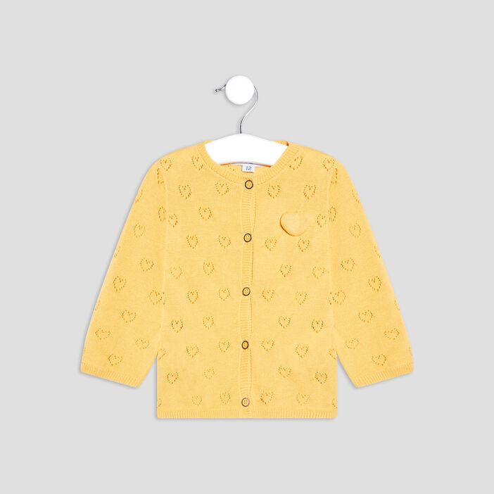 Gilet boutonné ajouré bébé fille jaune moutarde