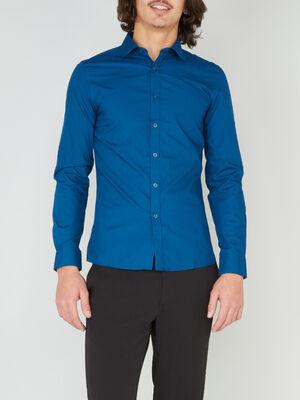 Chemise droite unie manches longues bleu canard homme