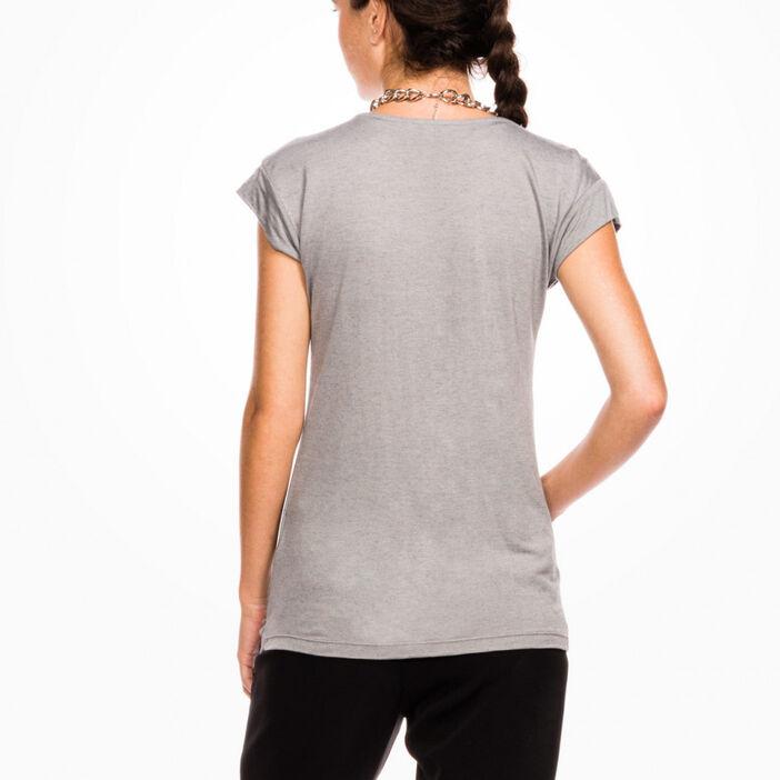 T-shirt chiné manches courtes femme vert