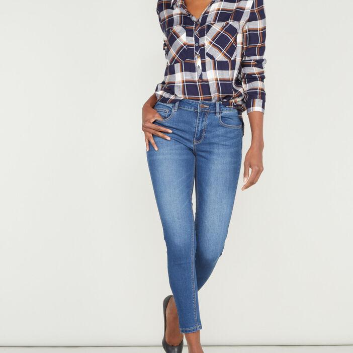 Jean skinny extensible 7/8 femme denim brut