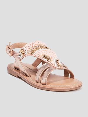 Sandales en cuir Creeks rose fille