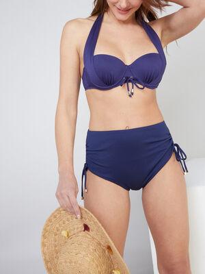 Bas de maillot avec fronces Isatis bleu marine femme