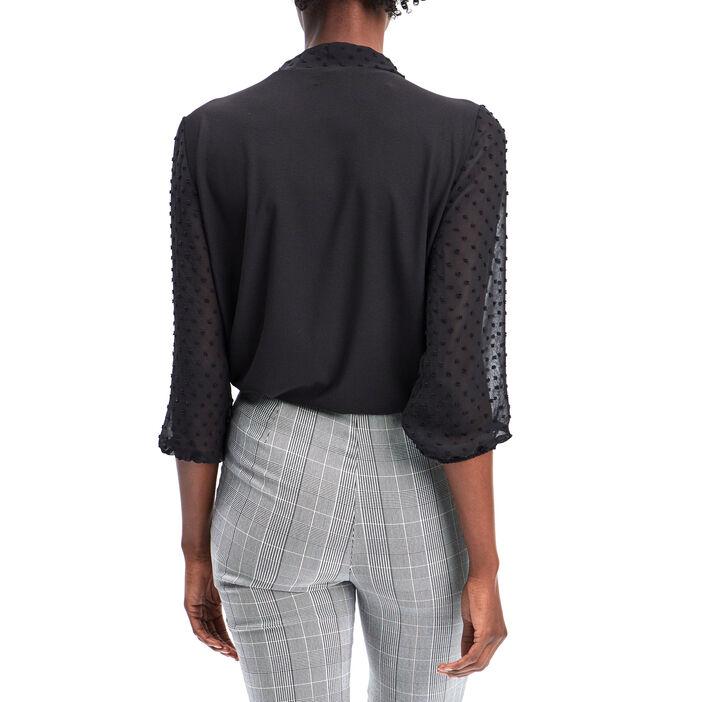T-shirt manches 3/4 femme noir