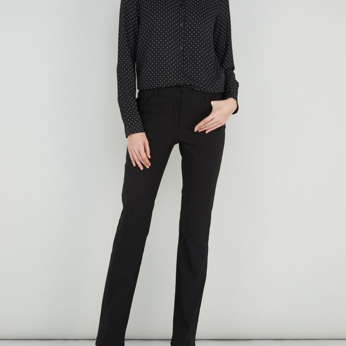 Pantalon droit uni à poches femme noir