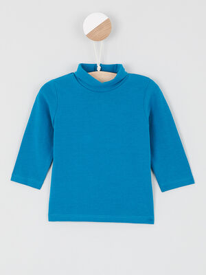 T shirt col roule coton majoritaire bleu canard garcon