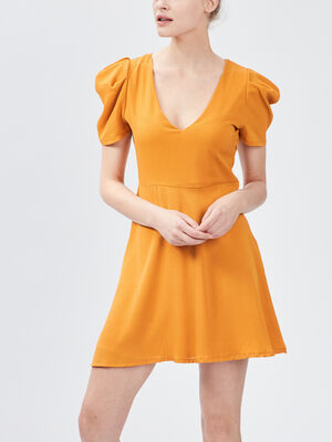 Robe evasee manches bouffantes jaune moutarde femme