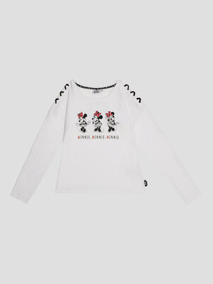 T shirt Minnie blanc fille
