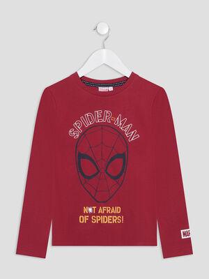 T shirt Spider Man bordeaux garcon