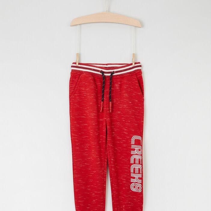 Pantalon chiné à taille élastiquée garçon rouge