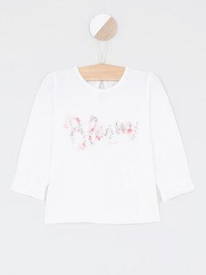 Sweatshirt dessin devant ecru fille