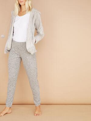 Veste de pyjama a capuche gris femme