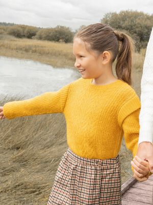 Pull manches longues jaune moutarde fille