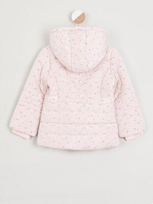 Doudoune motif etoiles a capuche rose clair fille
