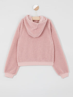 Sweat shirt bouclette a capuche rose fille
