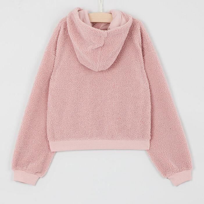 Sweat-shirt bouclette à capuche fille rose