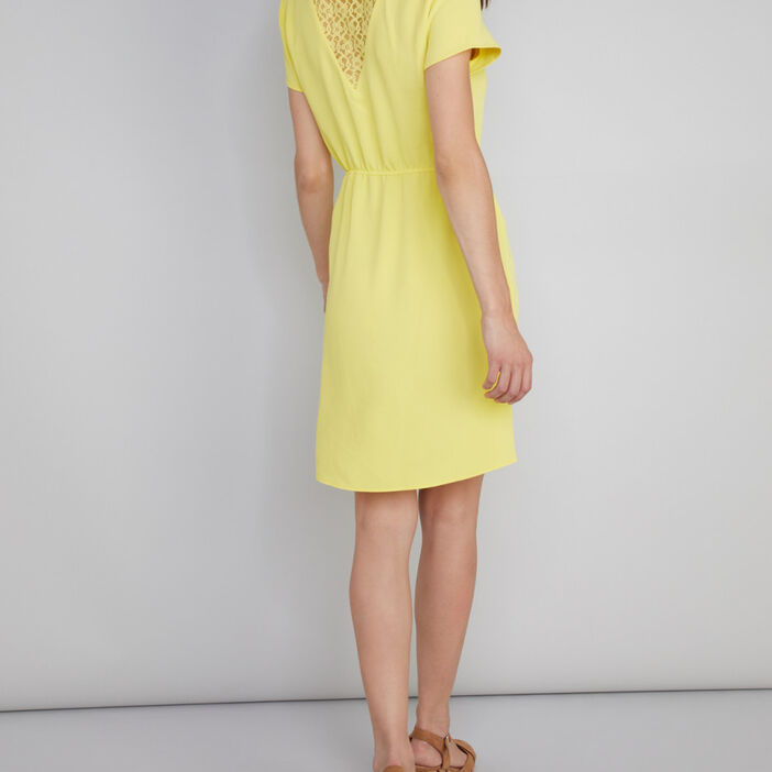 Robe manches courtes dos dentelle femme jaune