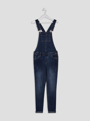 Salopette droite en jean denim double stone fille