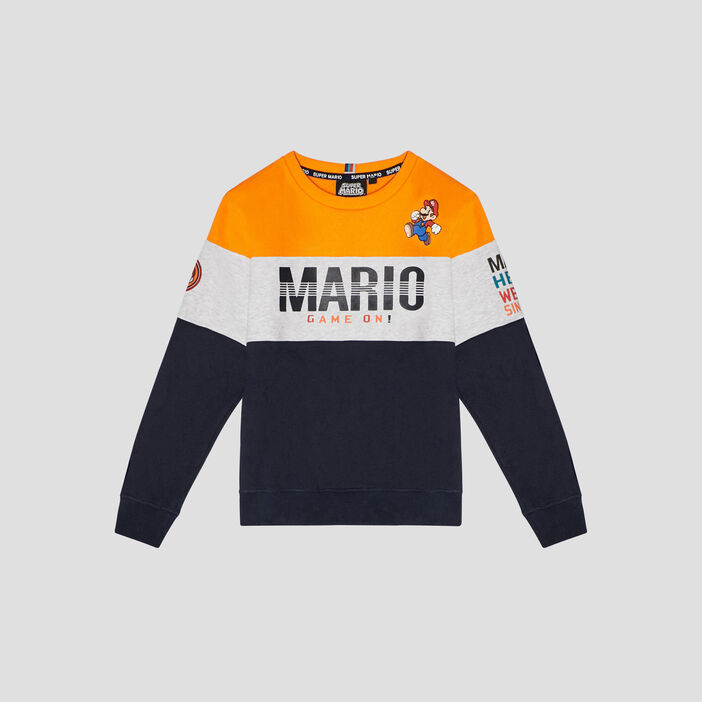 Sweat manches longues Mario garçon multicolore