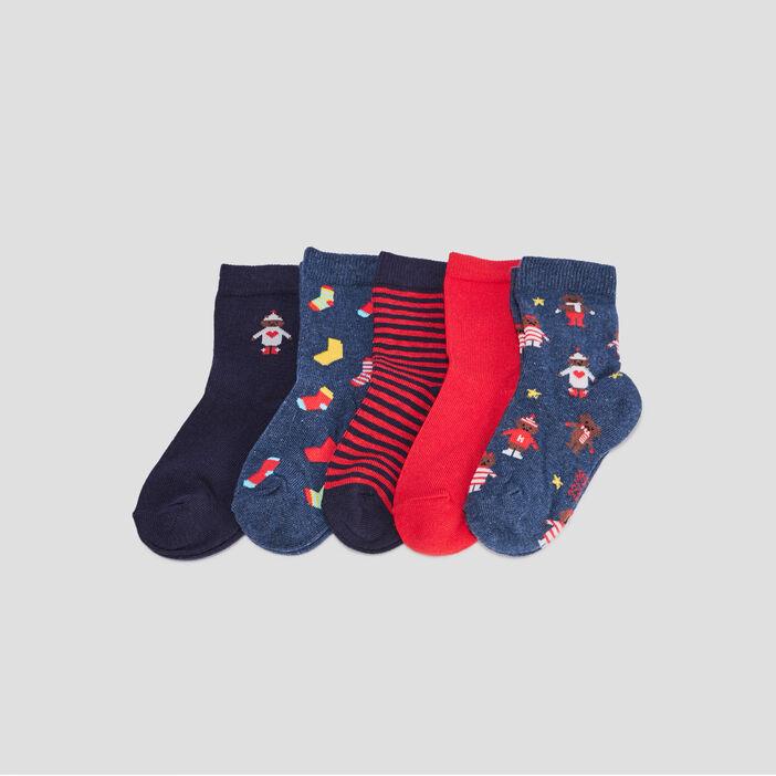 Lot 5 paires chaussettes mixte bleu