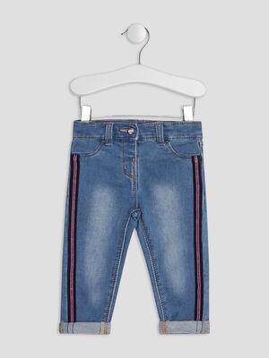 Jeans droit a bandes denim double stone bebef