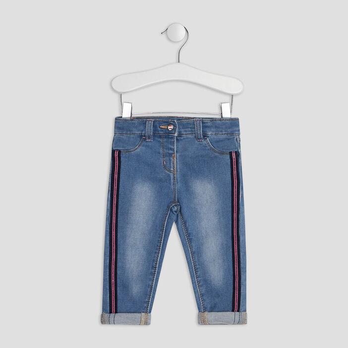 Jeans droit à bandes bébé fille denim double stone
