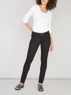Pantalon skinny uni noir femme