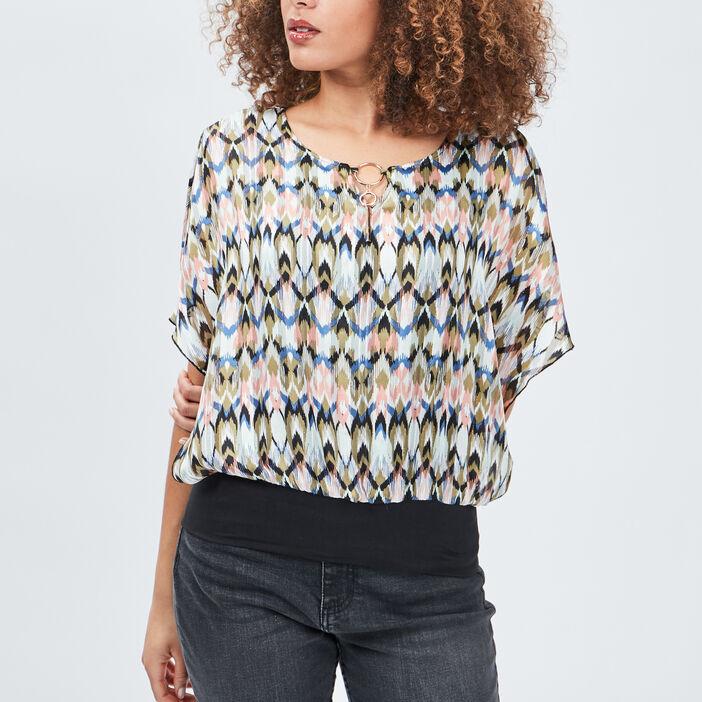 Blouse manches courtes femme multicolore