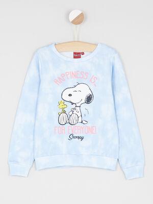 Sweatshirt Snoopy imprime place bleu ciel fille