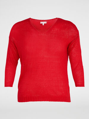 Pull manches chauve souris grande taille rouge femme