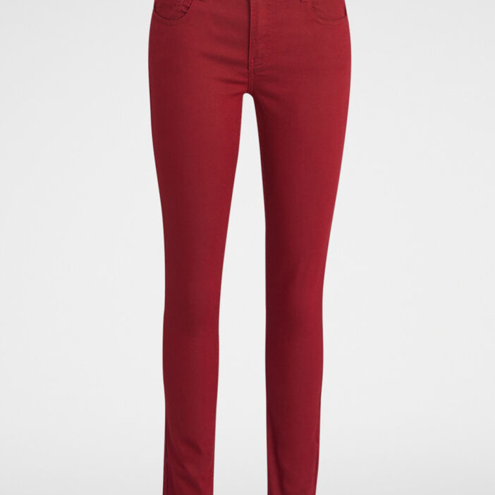 Pantalon skinny taille basse femme bordeaux