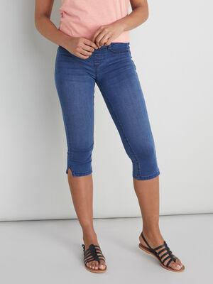 Pantacourt slim en jean denim double stone femme
