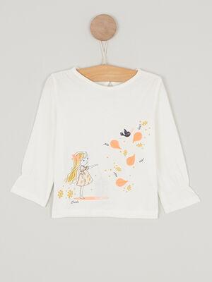 T shirt col rond imprime place ecru fille